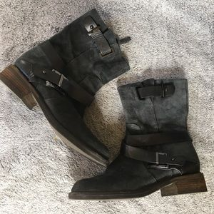 Louise et Cie Leather Suede Buckle Heel Boot
